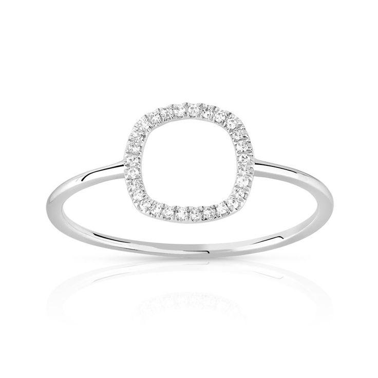 Bague or 375 blanc diamant - Femme - Bague   MATY