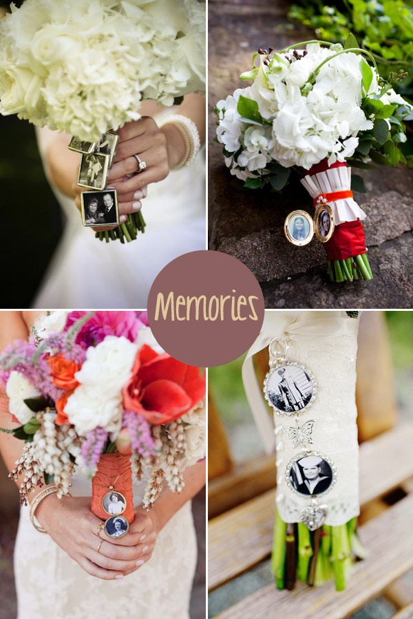 Little lockets with photos or memories attached to the bouquet mean you can carry your loved ones that can't be there with you on the big day. Photos of your parents or grandparents wedding day could also make a nice addition.