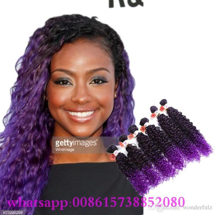 26 best synthetic hair extension set images on pinterest 1bpurple synthetic hair weave bundles kinky curly weave jerry curl hair 6bundleslot synthetic curly hair extensions pmusecretfo Choice Image