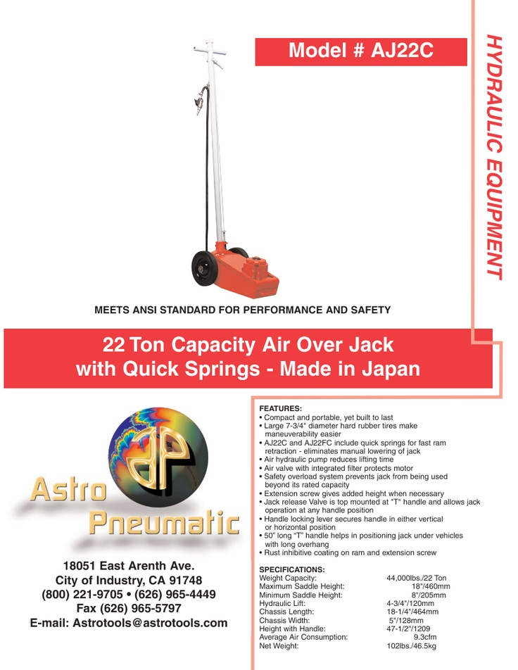 22 Ton Capacity Air Over Jack with Quick Springs Japan