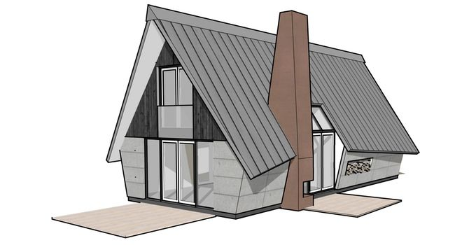 ook met metalen dak of ander maatwerk. Tags: corten stalen haard, gelamineerd hout, gevlinderd beton, houten gevel, prefab, riet, ruwbouw=afbouw, starters, Tech-NoTech scheiding, woning