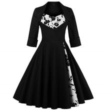 3XL 4XL 5XL Plus Size Mulheres Roupas Pin UP Vestidos primavera Outono Casuais Retro Party Robe Rockabilly 50 s 60 s Do Vintage vestidos(China (Mainland))