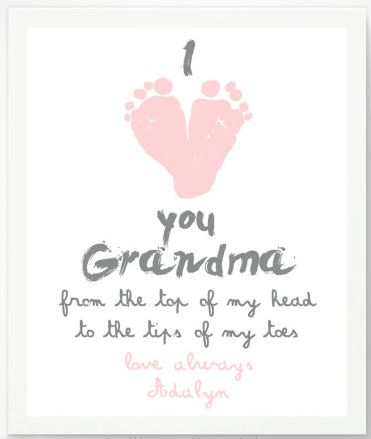 """Grandma Gifts on Mother's Day for Her: Personalized """"I Love You Grandma From the Top of My Head to the Tips of My Toes"""" Foot Print Artwork Print b..."""