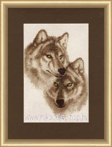 Набор для вышивки крестом Золотое Руно Влюбленные волки ДЖ-037