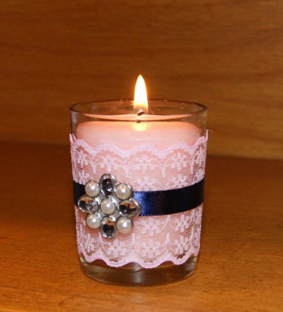 Navy Wedding / Blush Pink and Navy Blue by CarolesWeddingWhimsy, This set of (6)Navy Blue and Blush Pink Wedding Votive Candle Holders have pink lace, navy blue ribbon and a fabulous rhinestone brooch.  They are perfect for a Spring Wedding, Bridal Shower Décor or even Baby Shower décor.  You can find them here https://www.etsy.com/listing/286630139/navy-wedding-blush-pink-and-navy-blue