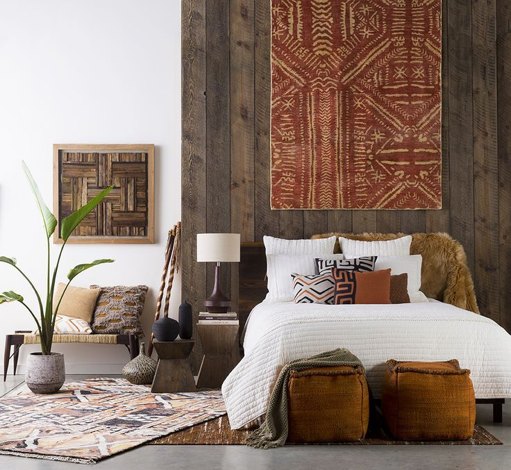 Ideas for our master bedroom.  natural colors incorporating African art.
