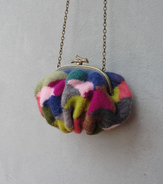 Knitted Felted Wool Bag Ombre Rainbow Patchwork Purse