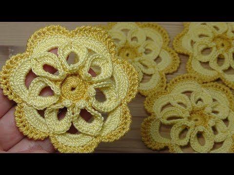 Как связать крючком ЦВЕТОК с объёмной серединкой How to crochet flower - YouTube