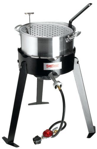 """""""Amazon.com A heap of fresh-caught catfish deep-fries in no time in this outdoor fish cooker from Bayou Classic. The cooking set includes the single-burner gas stove itself, a 10-quart aluminum deep-fry pan, an aluminum perforated insert basket with handle, and a five-inch stainless-steel... more details available at https://www.kitchen-dining.com/blog/grills-outdoor-cooking/outdoor-fryers-smokers/product-review-for-bayou-classic-2212-aluminum-outdoor-fish-cooker-set/"""