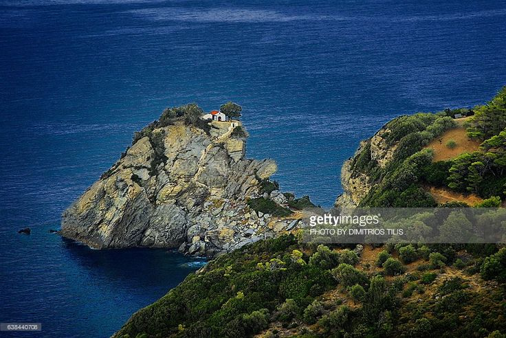 A famous small chapel on the peak of one big rock inside the sea