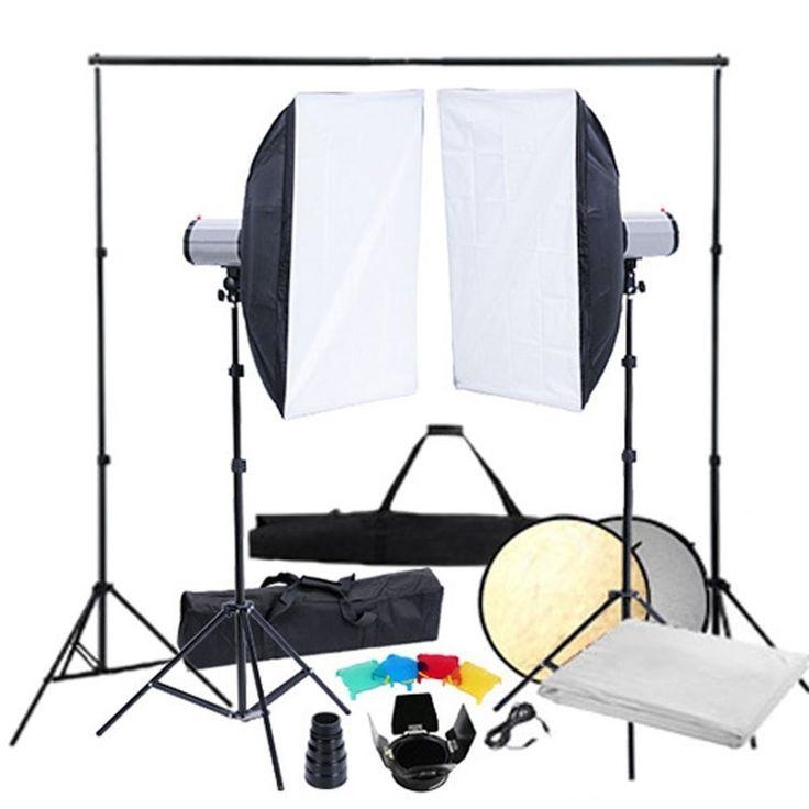 Fotostudio Set Hintergrundsystem Studioblitz Softbox Studioleuchte Blitzlampe 2