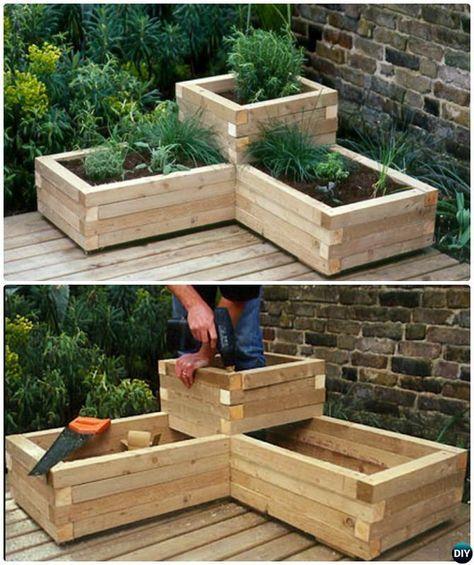 DIY Corner Wood Planter Raised Garden Bed-20 DIY Raised Garden Bed Ideas Instructions                                                                                                                                                      More