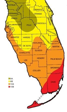 Zone Map - how comparable to LA & DI? Most of South Florida is Zone 9B through 10B.  Zone 9A - low temps of 20-25 degrees F   Zone 9B - 25-30 degrees  Zone 10A - 30-35 degrees  Zone 10B - 35-40 degrees