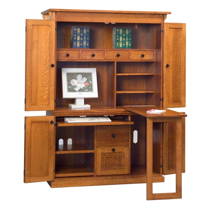 mission computer armoire amish desks amish furniture. Black Bedroom Furniture Sets. Home Design Ideas
