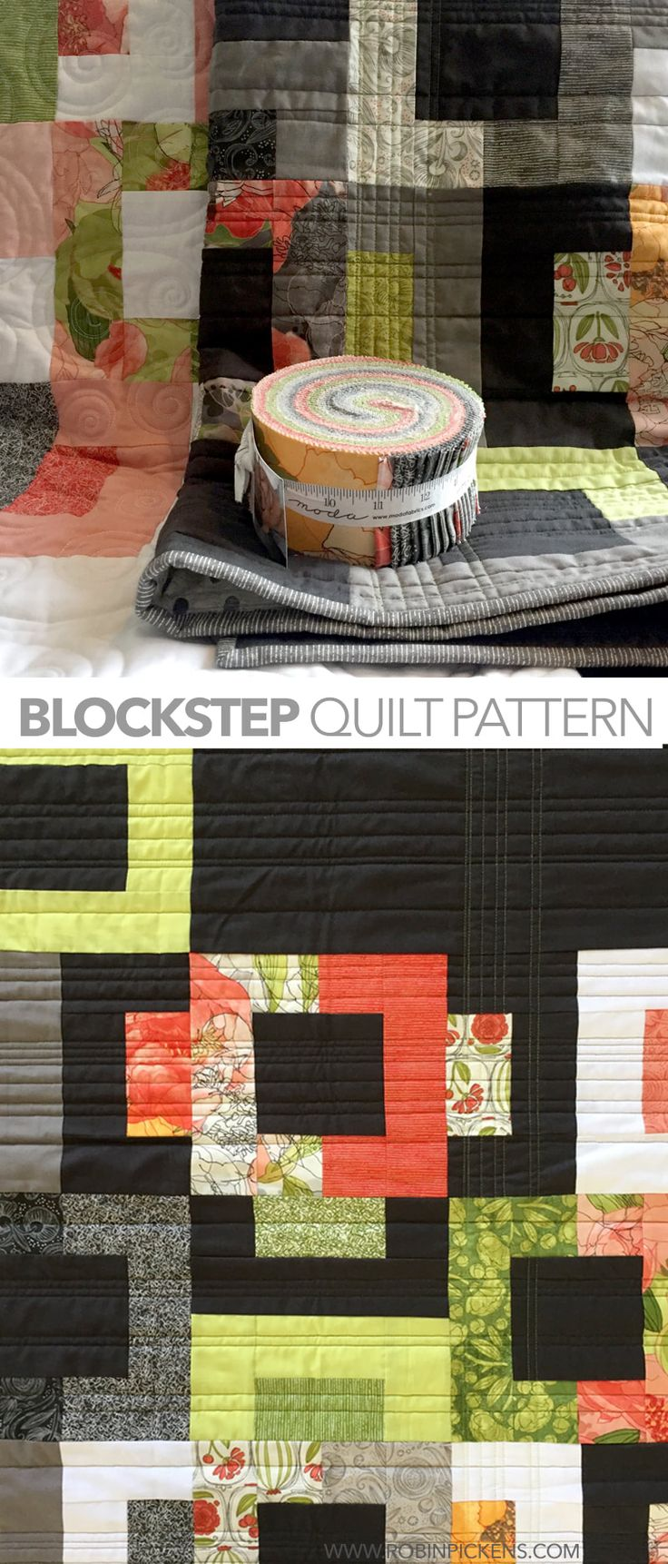 "random different color in the quilting  -  Robin Pickens ""Blockstep"""