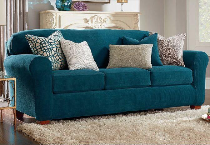 Cushions On Sofa, Aqua Sofa Slipcover