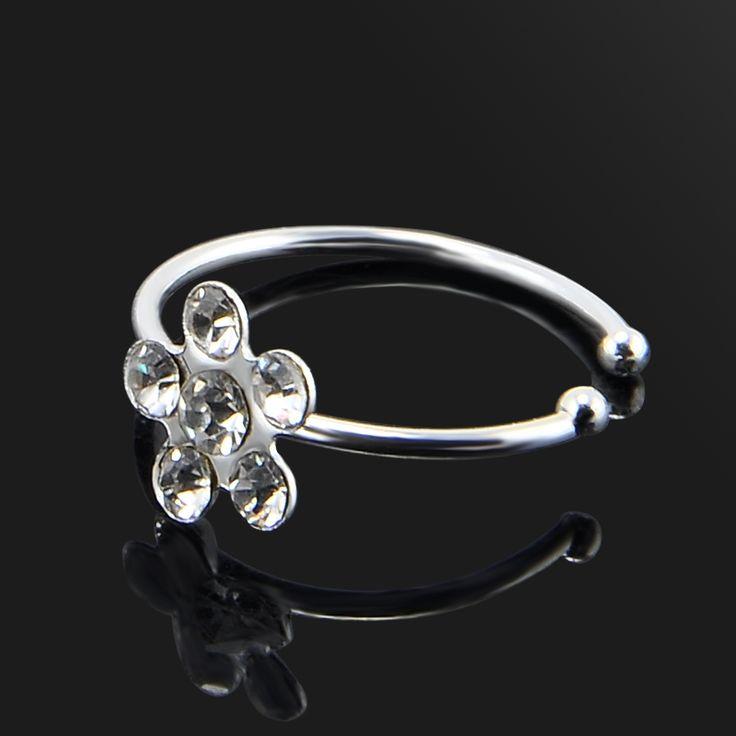 New Design Flower Crystal Fake Nose Ring Clip Body Fake Septum Nose Ring Piercin Nose Ring Women Jewelry