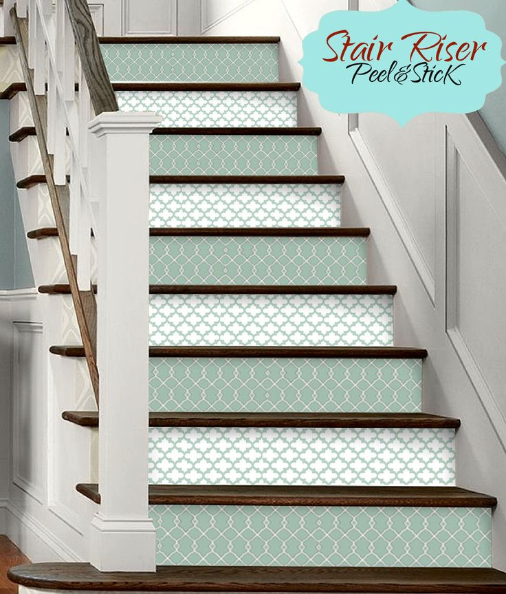 15pc Stair Riser Vinyl Strips Removable Sticker Peel & Stick: F6073 Green Morrocan by SnazzyDecal on Etsy https://www.etsy.com/listing/245788539/15pc-stair-riser-vinyl-strips-removable