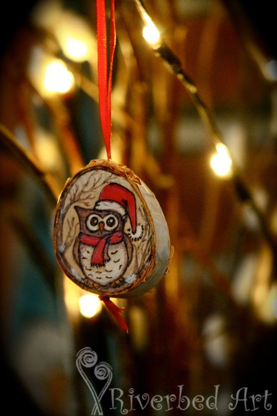 Pyrography Owl Christmas Ornament on Birch by RiverbedART on Etsy