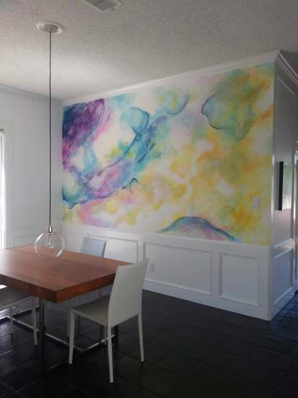 21 Lovely and Eye-Catching Watercolor Walls | This could be done on fabric, which could be 'starched' to the wall. Procion dyes sprayed onto canvas or muslin. Lots of ideas here.                                                                                                                                                      More