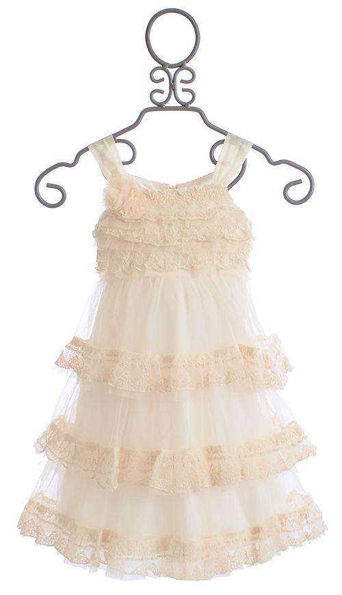 Isobella and Chloe Secret Garden Ivory Dress with Chic Ruffles $49.00