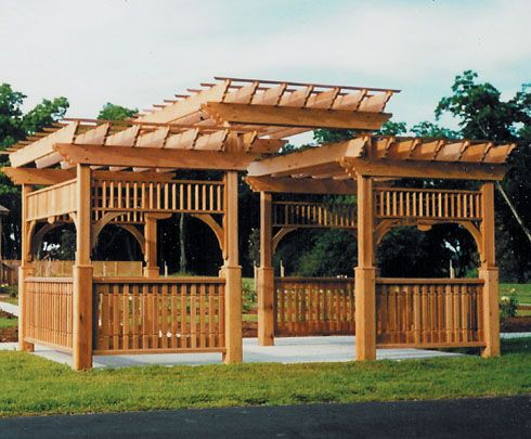 Very elaborate pergola with all kinds of architectural appeal. Way too big and intimidating for a small space.