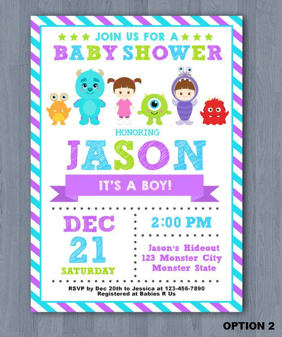 Monster Inc Baby Shower Digital Invite * This Is Printable File And No  Physical Items Will