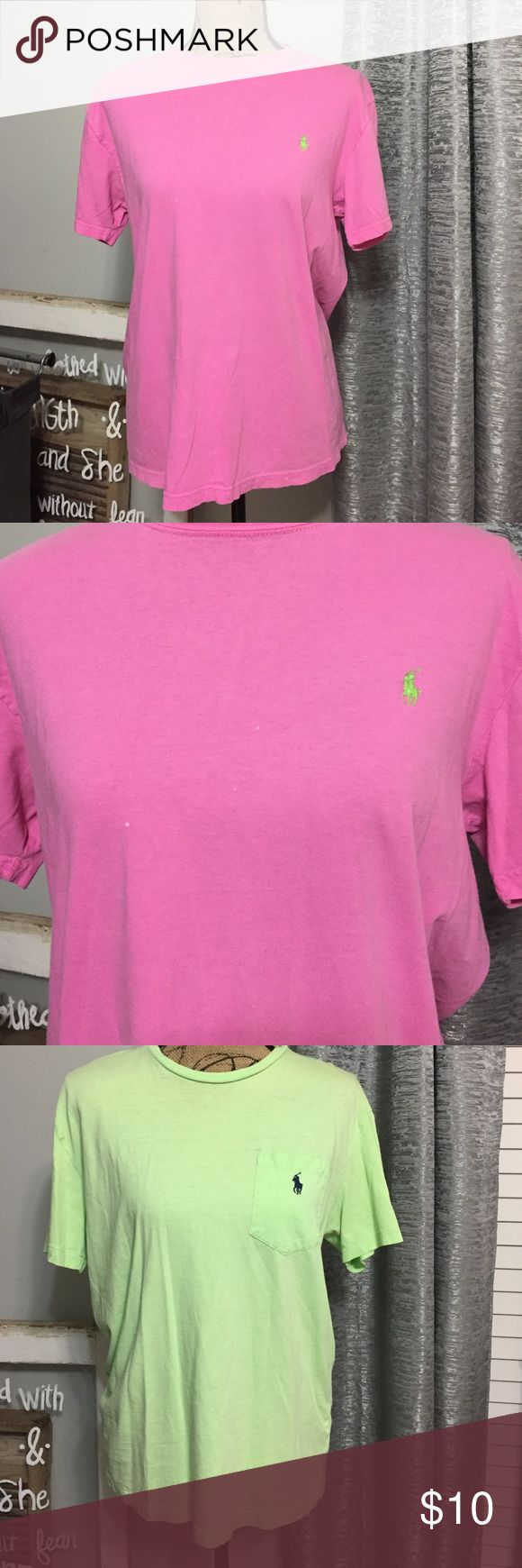 Polo tee shirts Pink and green bundle. 1 pink shirt and 1 green shirt. Both size S. The green is a men's and the pink is a women's. Hence the pocket. Damages are shown. Polo by Ralph Lauren Tops Tees - Short Sleeve