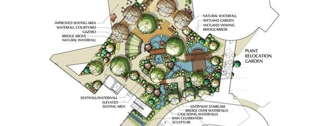 Oregon Good Samaritan Medical Center Healing Garden - diagrams & renderings, incorporation of water features, bridges, walkways, seating, meditative spaces