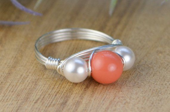 3f08f74db05ed Handmade Coral Colored and White Swarovski Crystal Pearls and ...