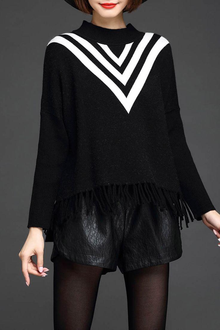 Lushijiao Black Fringe Zigzag Batwing Sleeve Sweater | Sweaters at DEZZAL