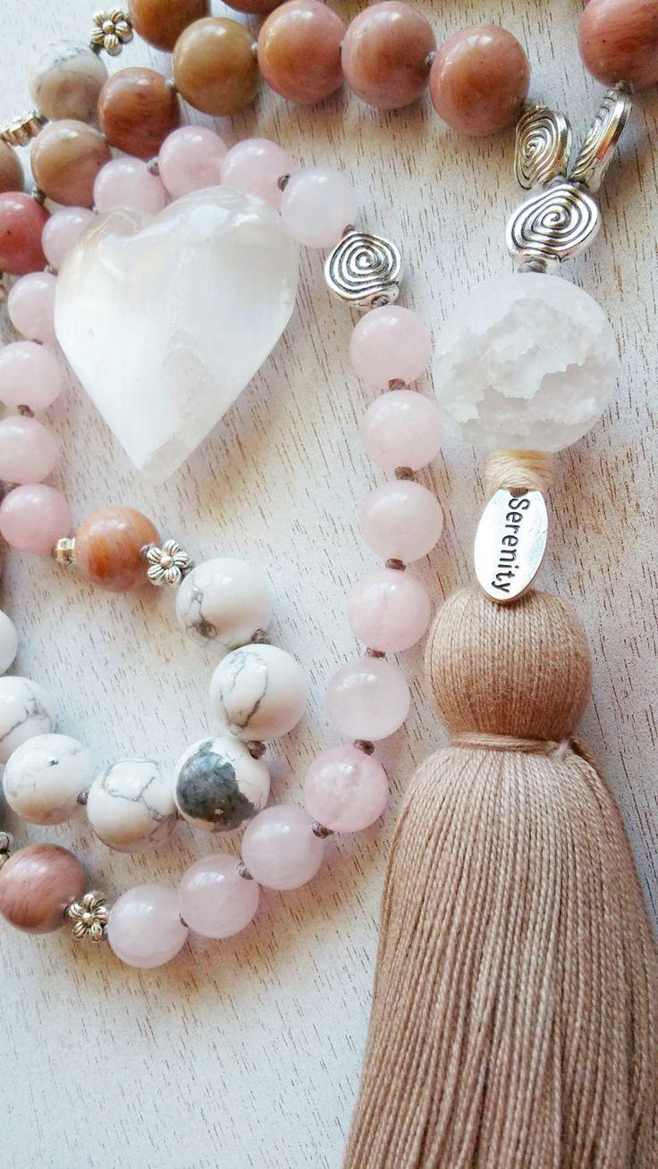 Rhodonite Mala, Howlite Mala, Rose Quartz Mala, Serenity Mala, Recovery Mala, Trauma PTSD Prayer Beads, 54 Bead Mala, Crackle Quartz Sphere by MysticKeyMeditations on Etsy
