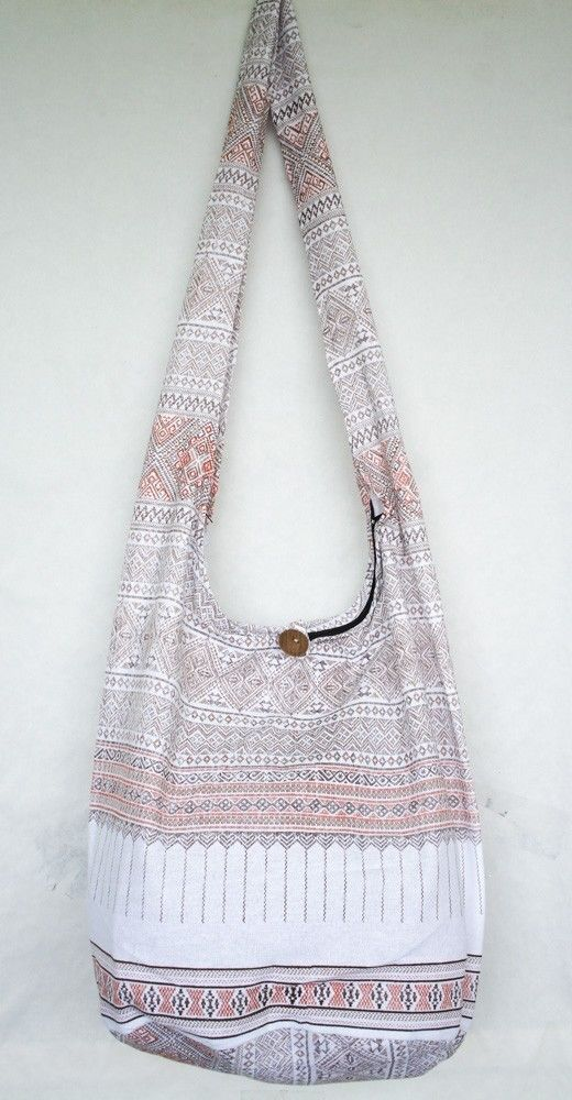 THAI NORTHERN GRAPHIC WHITE HOBO BAG sling purse shoulder hippie crossbody #Handmade #ShoulderBag