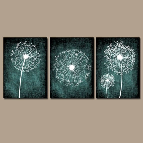DANDELION WALL ART, Purple Bedroom Wall Art, Dandelion Canvas or Prints Purple Bathroom Decor, Dandelion Wall Decor, Set of 3 Wall Decor