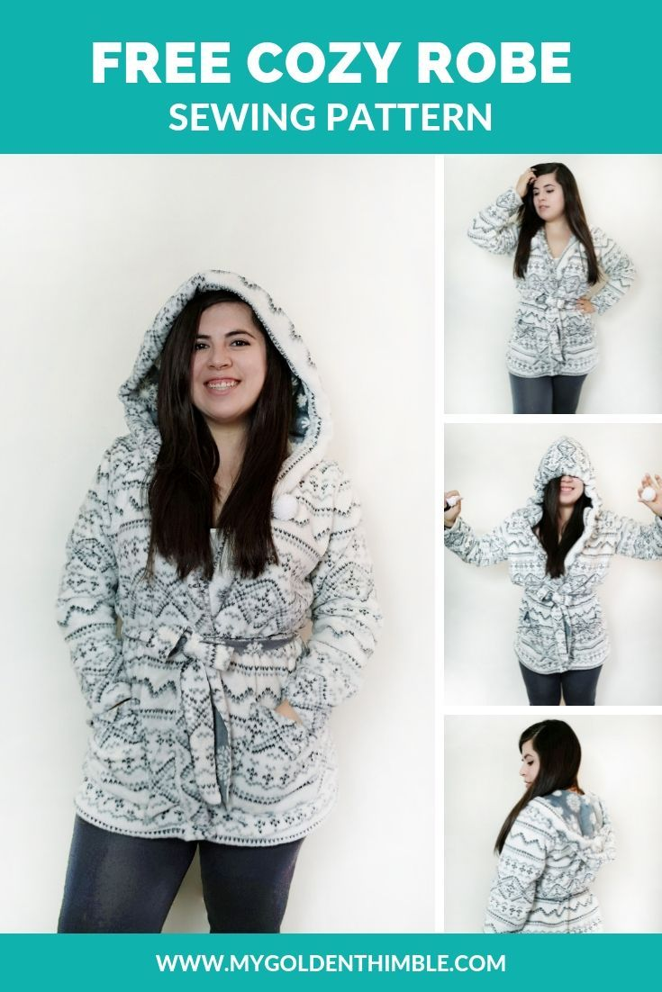 Make your own Cozy Hooded Robe Sewing Pattern. Free Pattern and tutorial  f7e190981