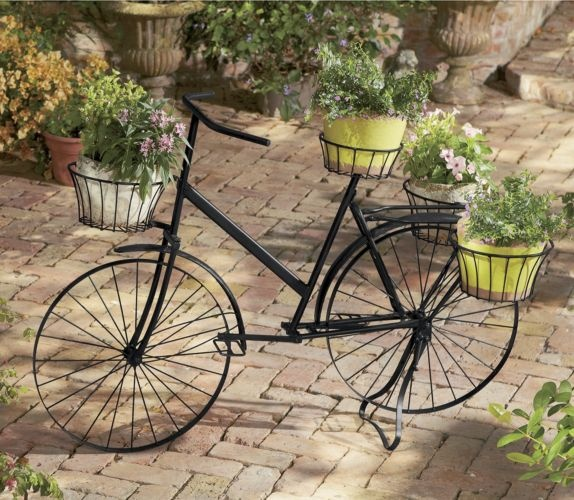 Bicycle plant stand from through the country door home sweet home garden pinterest - Bicycle planter stand ...