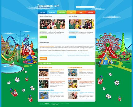 Amusement Park Website Templates by Mira