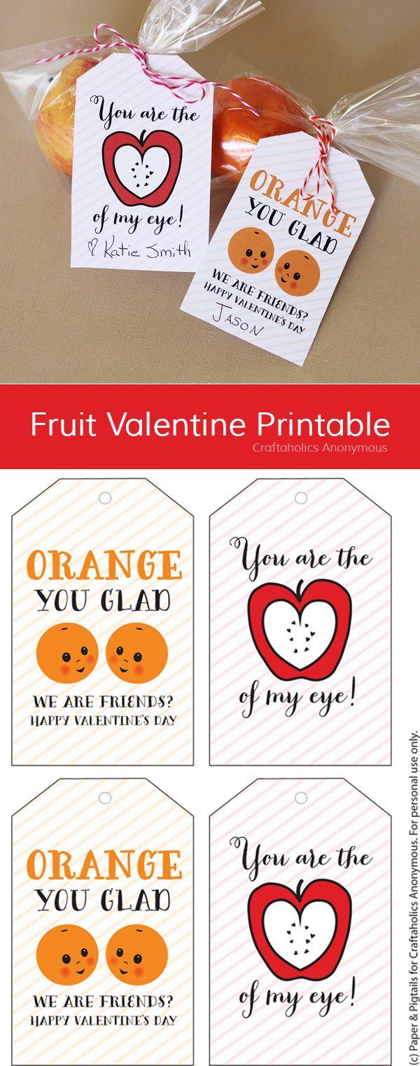 Free Fruit Valentine Printable || Healthy Valentine idea for Kids