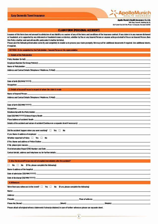 Travel Claim Form Unique Apollo Munich Easy Domestic Travel