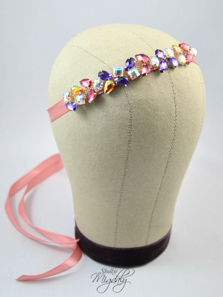 Rhinestone bridal headband. Pink headband.