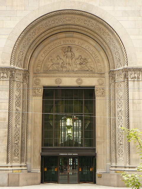 The Art Deco main entrance to the old Canadian Bank of Commerce (now Canadian Imperial Bank of Commerce, CIBC) building on King Street West in downtown Toronto.