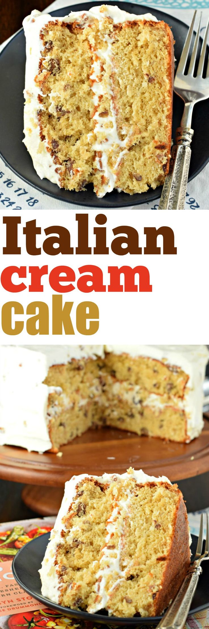 A classic southern Italian Cream cake recipe chock full of coconut and pecans with a cream cheese frosting!