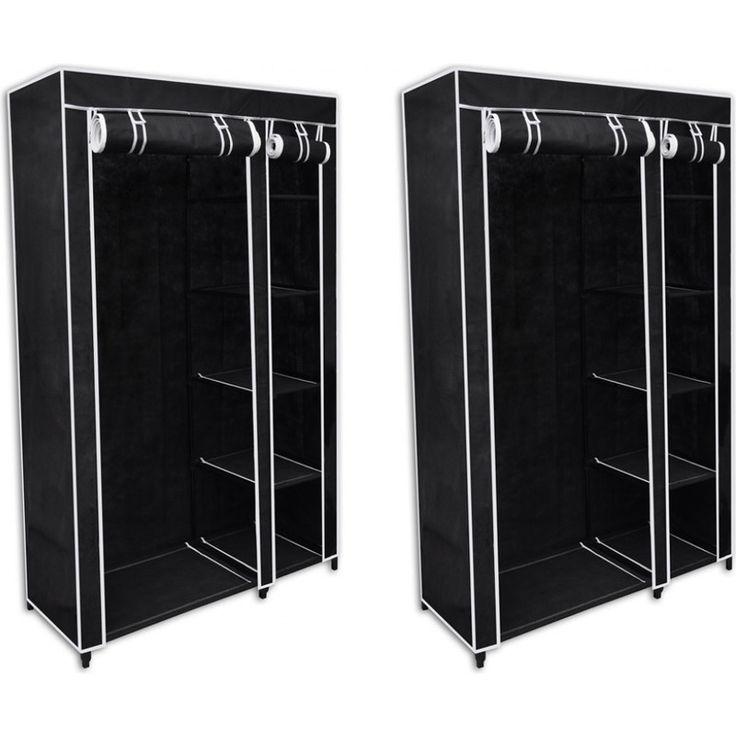 2x Folding Portable Wardrobe w/ Roll Up Door Black | Buy New Arrivals