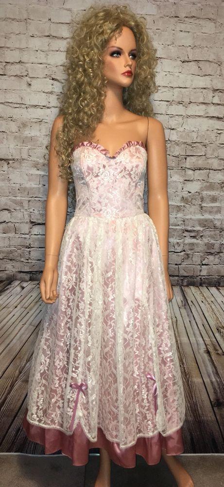 Vtg Gunne Sax Sz 9 Strapless Pink Ivory Lace Prom Valentine's Formal Sweetheart #GunneSax #Formal
