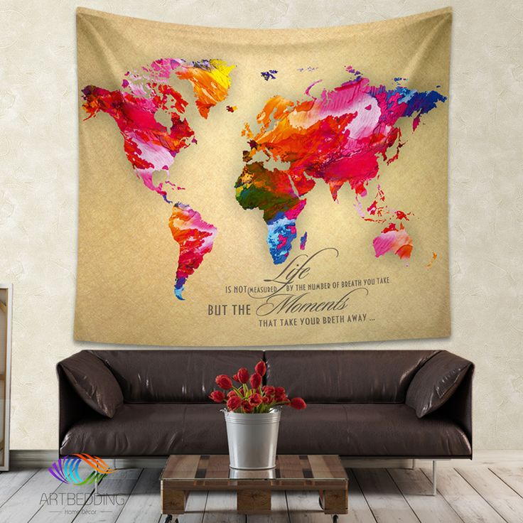48 best Watercolor art world map wall tapestry designs images on ...