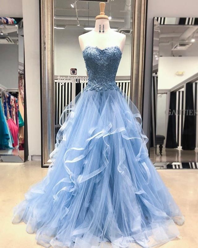 c628c15592e2 Gorgeous A Line Sweetheart Appliques Lace Prom Dresses with Ruffles P913