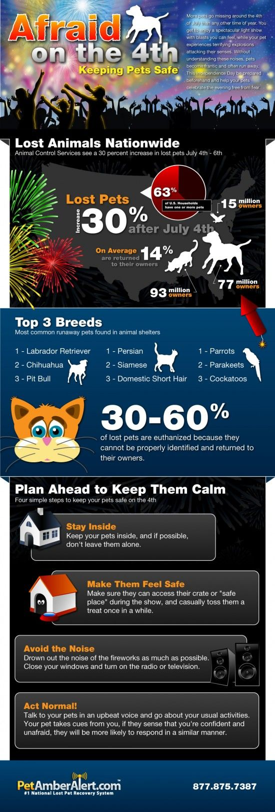 Keeping pets safe: One of our dogs ran away on Canada Day and was hit by a car. Keep them inside.