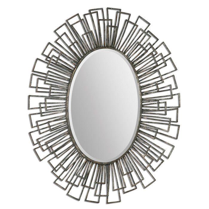 Modern Oval Mirror - Silver & Green