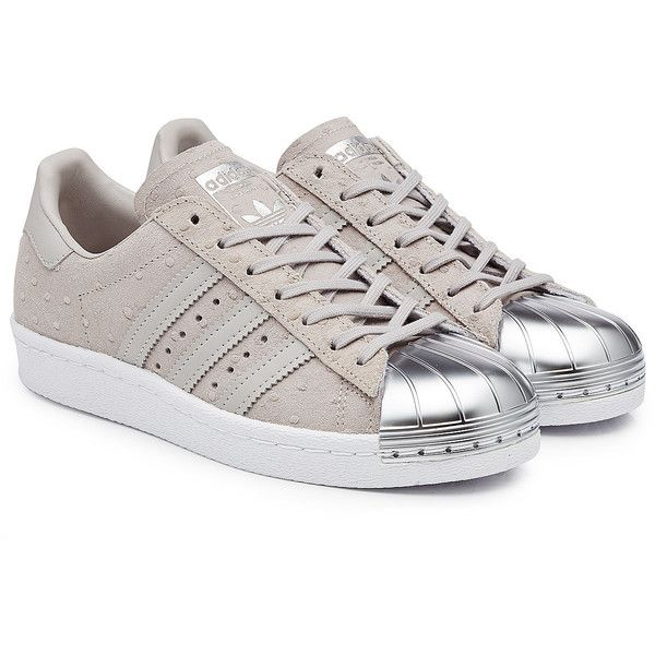 Adidas Originals Superstar 80s Suede Sneakers (€139) ❤ liked on Polyvore featuring shoes, sneakers, grey, grey suede sneakers, adidas originals trainers, 80s shoes, gray shoes and 1980s sneakers
