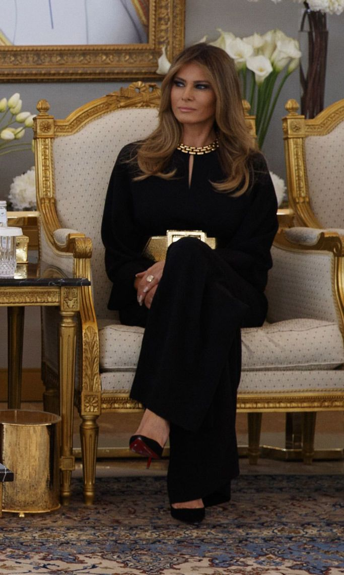 65fbd31b32b4 Melania Trump Holds Court With Royals in This Black   Gold Outfit in ...